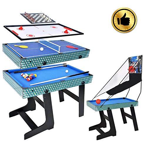 WIN.MAX 5 in 1 Tavolo da Gioco Multi-Gioco, Basket, Biliardo, Scacchi, Ping-Pong, Air Hockey Table...