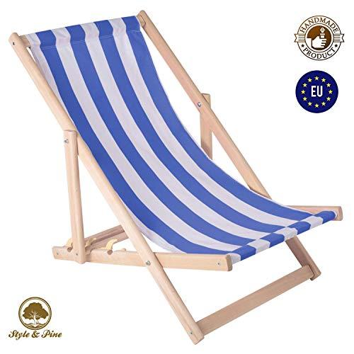 Amazinggirl Liegestuhl klappbaraus Holz Liege - Relaxliege für Garten Balkon Gartenliege Strandstuhl Liegen Gartenmöbel (1 Stück, Weiß-blau gestreift)