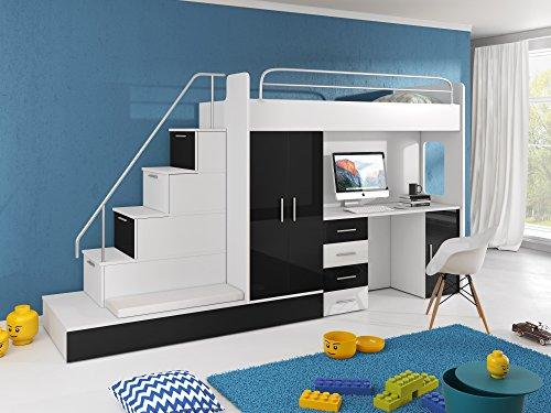 Hochbett TOMI - Schreibtisch, Schrank, Treppe und Gästebett mit Hochglanz-Fronten in weiß / schwarz / rosa / grau / lila / blau (schwarz)