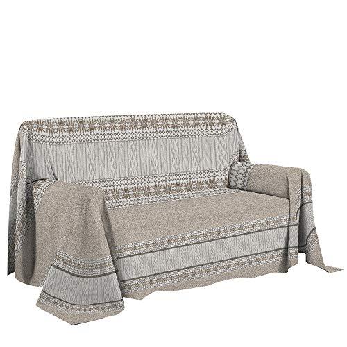 Telo arredo cotone fantasia shabby 2 misure copritutto grandfoulard maglia - Beige - 180x290 cm