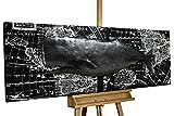 KunstLoft® Tableau métallique 3D 'Whale Watching' 150x50x6cm | Décoration Murale XXL | Baleine Animal Mer Eau Noir | Tableau Moderne Fait à la Main en métal