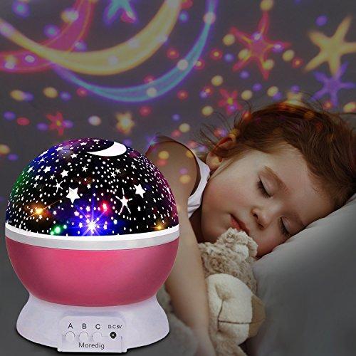 Stelle Lampada,UBEGOOD Proiettore Stelle Luce Notturna per Bambini con 4 Colori Lampadine LED 3...
