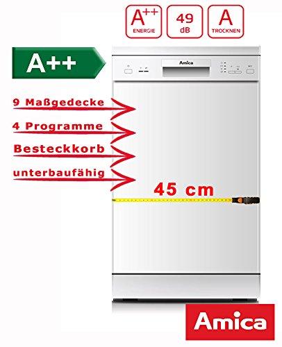 Amica GSP 14746W Semi integrierter 9places A + + Spülmaschine-Geschirrspülmaschinen (Semi Integriert, weiß, Slimline (45cm), Knöpfe, 1,5m, 1,5m)