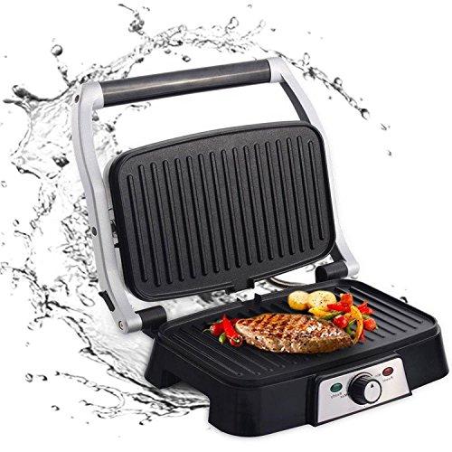 Aigostar Hitte 30HFA - Grill, parrilla, sandwichera y máquina de panini, 1500 W de potencia, 2 placas de cocinado independientes antiadherentes, apertura 180º, temperatura regulable. Diseño exclusivo