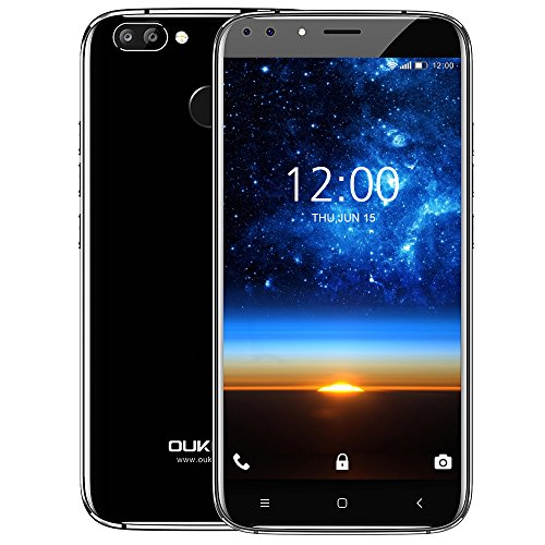 Oukitel U22 3G Android Smartphone, Android 7.0 Quad Core 2GB + 16GB, 4 Cameras, Rear 13.0MP + 2.0MP, Front 8.0MP + 2.0MP, Dual SIM, Unlocked Cell Phone, Black