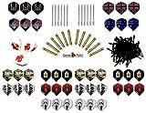 12 Dartpfeile mit Aluschaft ca. 18g + 100 Spitzen und 30 Flys von Winmau + Satz GamePoint Flys