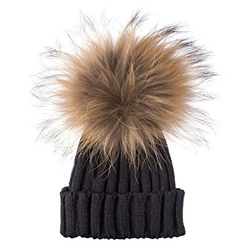 LadiesWomens-Winter-Knit-Beanie-Ski-Hat-Cap-with-Soft-Faux-Fur-Large-Pom-Pom-UK-Seller-Same-Day-Dispatch-BlackBlack-Pom-Pom