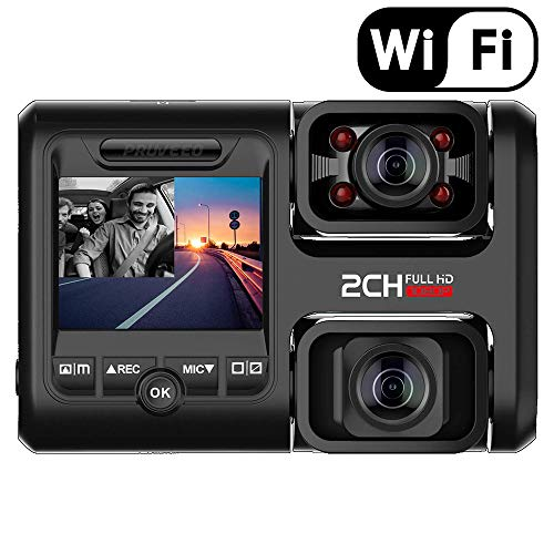 OOOUSE Dual Dash Cam, 1080P Full HD Car DVR Dashboard Camera Recorder with Infrared Night Vision and WiFi, Parking Monitor, Motion Detection, WDR