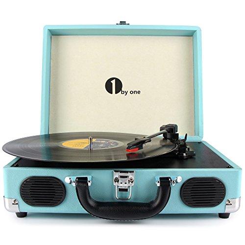 Platine Vinyle 1byone Tourne Disque Transportable Immitation Bois,3 Vitesses avec Enceinte Interne, Prise USB pour MP3, AUX in et Prise RCA