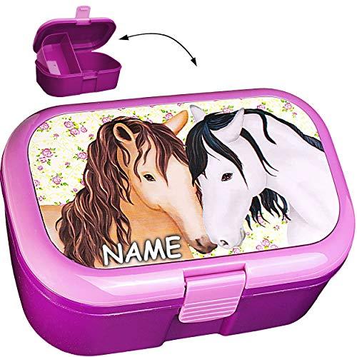 alles-meine.de GmbH Lunchbox / Brotdose -  Pferde & Blumen  - inkl. Name - BPA frei - mit extra Einsatz / herausnehmbaren Fach - Brotbüchse Küche Essen - für Mädchen Pferd - Ti..