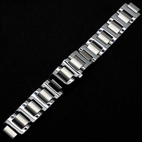 SHAROSW Cinturino Orologio Argento 9mm / 11mm per Donna Cinturino Cinturino in Acciaio Inossidabile Massiccio, per Cartier