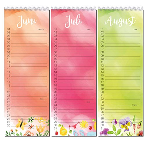 Colourful Birthday Calendar With Spiral Binding, Calendar