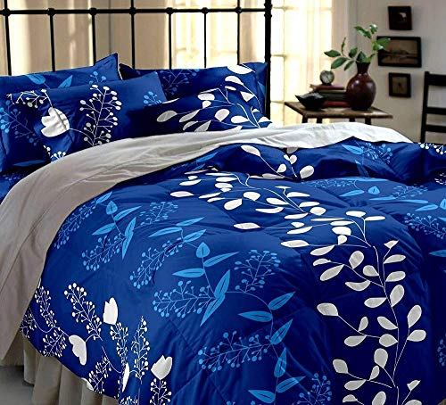 DECO READY Floral Design Print Cotton King Size Double Bedsheet,Set of 1 Bedsheet and 2 Pillow Covers (Dark Blue)