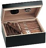 Egoist JK00180 Holz Humidor Box mit Hygrometer für ca. 40 Zigarren, Zigarren-Zubehör - Schwarz