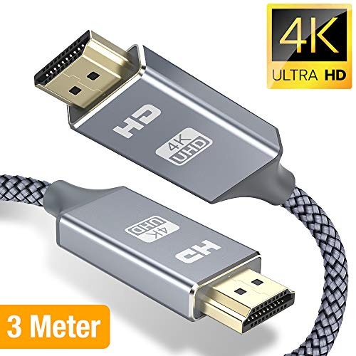 Snowkids Hdmi Kabel 3m HDMI 2.0 a/b Highspeed mit Ethernet, 4K hdmi Kabel 2.0/1.4a, Video UHD 2160p, Ultra HD 1080p, 3D, ARC, CEC, Xbox PS3 PS4 PC