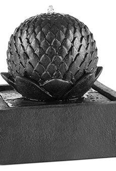 Blumfeldt Fuente de Agua Ornamental de jardín Bebedero de pajaros (Panel Solar con batería, Funcionamiento Continuo, Fuente Decorativa con diseño de basalto)