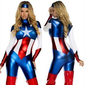 J-COSTUME Ropa De Halloween Cosplay del Traje De La Señora Adulta Capitán América Partido De La Mascarada OneSize