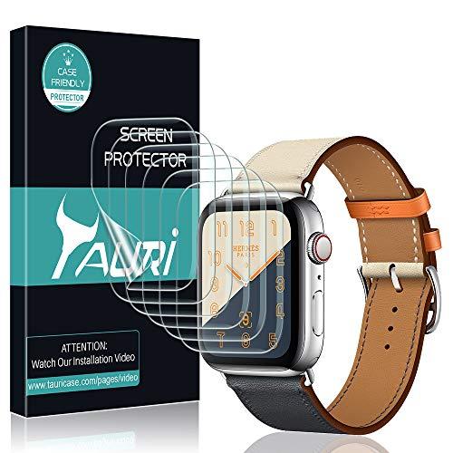 TAURI Pellicola Protettiva per Apple Watch Series 4 44mm [6 Pezzi] Pelle Liquida [Installazione dell'Acqua] Pellicola Protettiva in TPU HD Trasparente [Senza Bolle, Installazione Facile]
