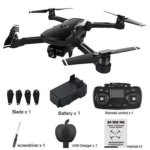 Yesmile Drone Quadcopter GPS Telecamera 2.4G FPV WiFi HD 1080P Drone Professionale GPS con Grandangolare Regolabile Camera HD WiFi FPV Quadricottero Funzione Seguimi modalità Senza Testa