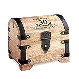 Forziere del tesoro con incisione per i 30 anni   Chiaro   Personalizzabile con Nome   Portagioie   Salvadanaio   Scrigno in Legno   Idea Regalo di Compleanno   14 cm x 11 cm x 13 cm