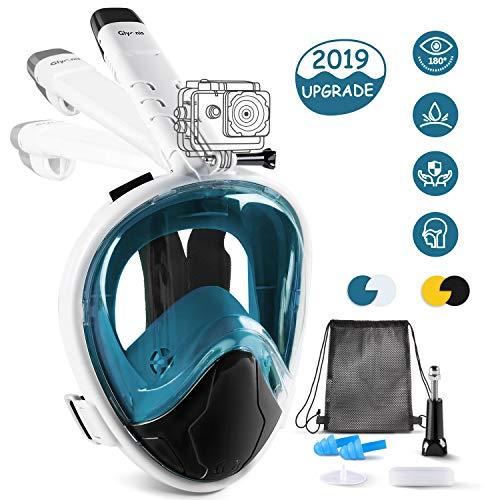 Glymnis Maschera Snorkeling Maschera Subacquea Immersione Panoramica a 180°, Anti-Appannamento, Anti-Infiltrazioni, Tubo Respiratorio Pieghevole(Blu S/M)