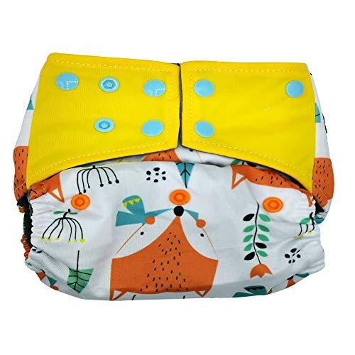 Pannolini lavabili riutilizzabili per bambino di KoalaBabyGo in Bamboo doppio elastico interno a prova di perdite per neonato inserto estraibile 5 strati super assorbenti traspiranti (volpe)