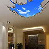 AUVS 3D- Selbstklebende Abnehmbaren Durchbrechen Die Mauer Vinyl Wandsticker / Wandgemälde Kunst Aufkleber Dekorateur (Der Blaue Himmel Large (70cm x 90cm))