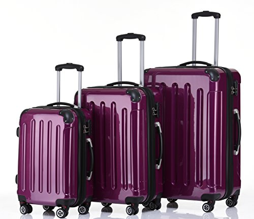 Zwillingsrollen 2048 Hartschale Trolley Koffer Reisekoffer in M-L-XL-Set in 14 Farben (LILA, SET)