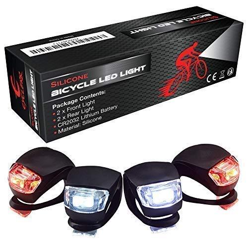 Luci LED Bici, Luce Bicicletta Impermeabile Silicone Luce Set 4 Pezzi, Illuminazione Passeggini...