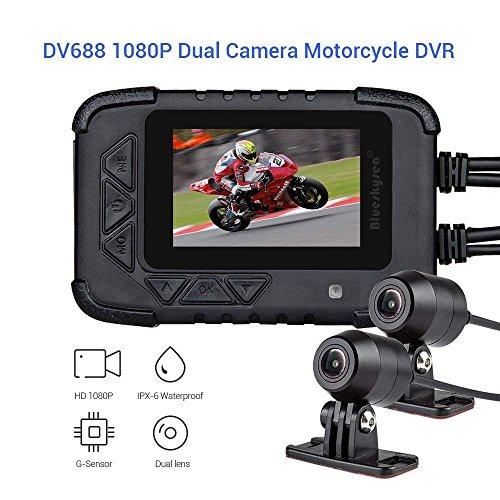 Blueskysea DV688motorcycle Dash Cam con GPS 1080p Dual Lens motorcycle recording camera schermo LCD 6cm IP67impermeabile 130gradi angolo di visione notturna ultima versione