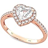 BestToHave 925 Sterling Silver Heart Rose Gold Gp Ladies Wedding Engagement Band Ring P