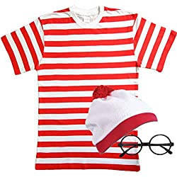 MENS LADIES RED & WHITE STRIPED TSHIRT HAT & GLASSES Fancy Dress (Men: Small) by PAPER UMBRELLA