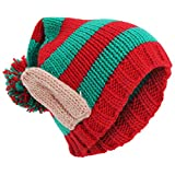 Adults Unisex Knitted Christmas Design Winter Bobble Hat With 3D Ears (One Size) (Red/Green)