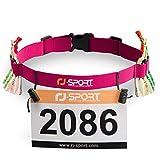 Triathlon Startnummernband Laufgurt mit Nummernhalter & 6 Gel-Halter für Joggen Radfahren Marathons (Rosa)