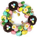 THE TWIDDLERS Corona pasquali a Tema con Uova Colorate - Perfetta da Appendere o Mostrare sulla Porta per Easter - Arredamento Attraente per Interni o Esterni - Pasqua Wreath Decorazioni