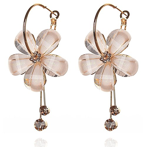 YouBella Gold Plated Drop Earrings for Women (Off-White)(YBEAR_31191)