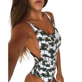 ABCone costume da bagno Costume Intero Donna Fiori, Bikini Donna Mare Interi Sexy Push Up Vita Alta Taglie Forti Sexy Imbottita Brasiliana Halter Stampa Floreale Alta Donna Bikini Mare Spiaggia