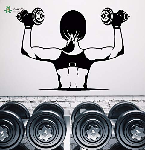 Decalcomania da muro Decorazione da parete staccabile in vinile Gym Muscle Girl Bella Body Manubri...