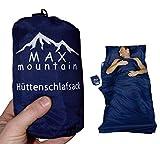 Hüttenschlafsack blau von MAX mountain | Schlafsack Inlett aus atmungsaktivem Mikrofaser, 300g leichter Reiseschlafsack ideal für Hotel und Trekkingtouren
