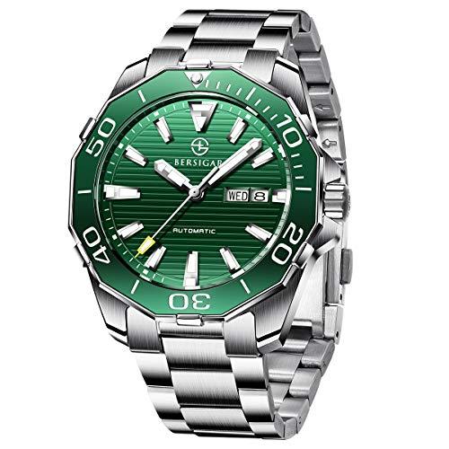 BERSIGAR BG-1617 orologi automatici da uomo - Orologio da polso da uomo casual in acciaio inossidabile con quadrante verde impermeabile