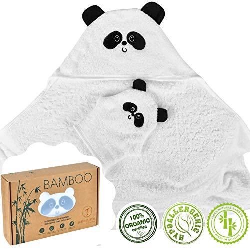 Accappatoio Asciugamano Neonato Bambino 100% Bamboo Biologico Con Cappuccio E Guanto Per Regalo...