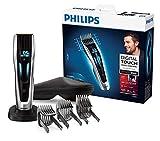 Philips HC9450/20 - Cortapelos con cuchillas de titanio,3 peines-guía motorizados, con interfaz de cambio digital, soporte de carga y funda, negro, ac / batería