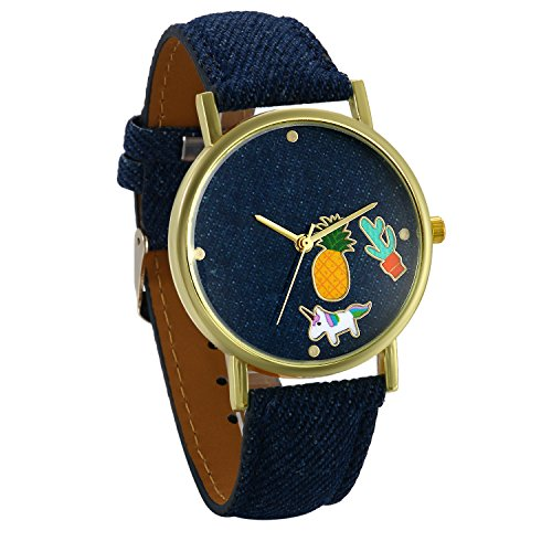 dfa177b94343 JewelryWe Relojes de Mujer Con Dibujos Piña y Unicornio Reloj Analogico  Correa de Cuero Azul, Simpatico Reloj de Pulsera para Chicas, Original  Regalo ...
