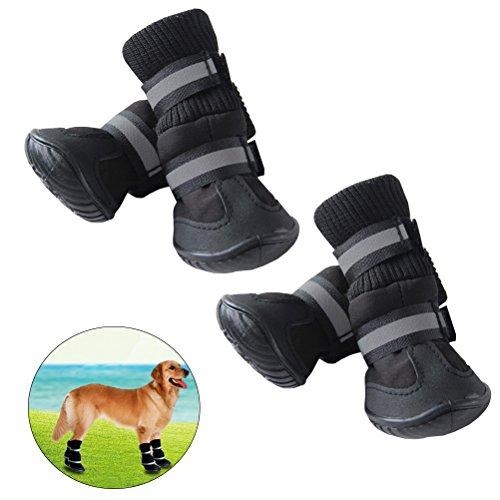 UEETEK Anti Slip Pet Snow Boots Schutzschuhe Hund Regen Booties Größe L (Schwarz)