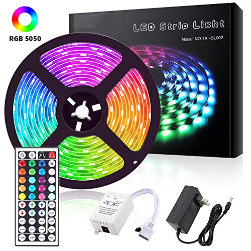 ALFLASH Striscia LED 5M 16.4FT RGB Musica Strisce IP65 impermeabile Impermeabile Flessibile/Accorciabile/Divisibile/Collegabile Nastri Led 24W 5 Metri di Luci Colorate Decorative Esterno (5M/16.4FT)