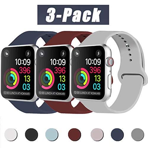INZAKI Compatibile con Cinturino Apple Watch 42mm 44mm, Cinturino di Ricambio Sportivo Classico in Silicone Morbido per Braccialetto per iWatch Serie 5/4/3/2/1,S/M, Blu Notte/Vino Rosso/Gray
