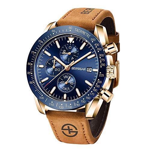 BERSIGAR Orologio da polso da uomo acciaio inox movimento al quarzo cronografo impermeabile cinturino in pelle oro blu