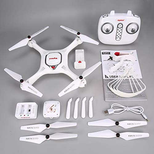 PETUNIA Syma X25PRO RC FPV Quadcopter Drone 720P HD WiFi Telecamera Regolabile GPS - Bianco (USB)