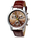 Yuan New Luxury Fashion Crocodile Faux Leather Mens Analog Watch Watches (Brown)