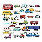 decalmile Transports Stickers Muraux Enfant Autocollants Mural Chambre Bébé Garçon Garderie Salle de Jeux Décoration Murale